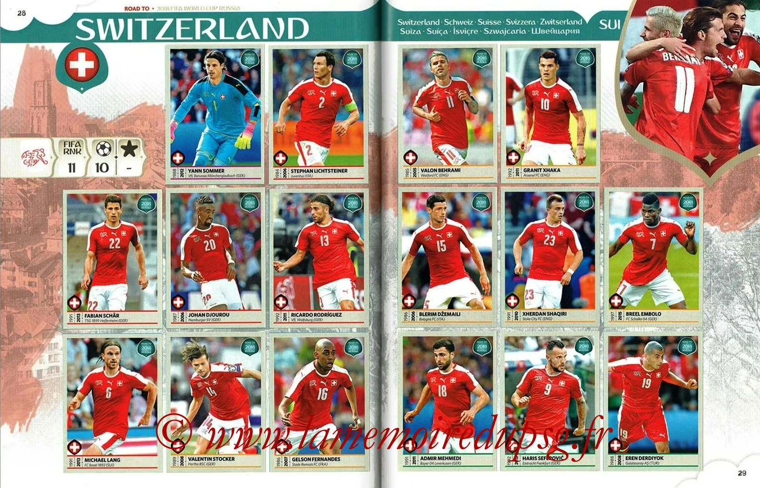 2018 - Panini Road to FIFA World Cup Russia Stickers - Pages 28 et 29 - Suisse