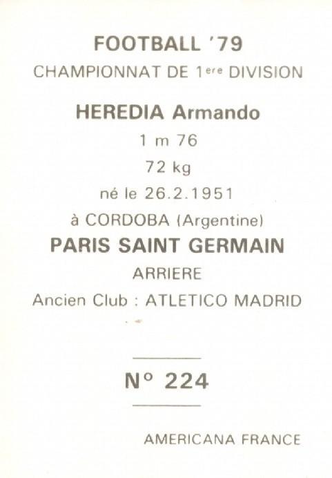 N° 224 - Armando HEREDIA (Verso)
