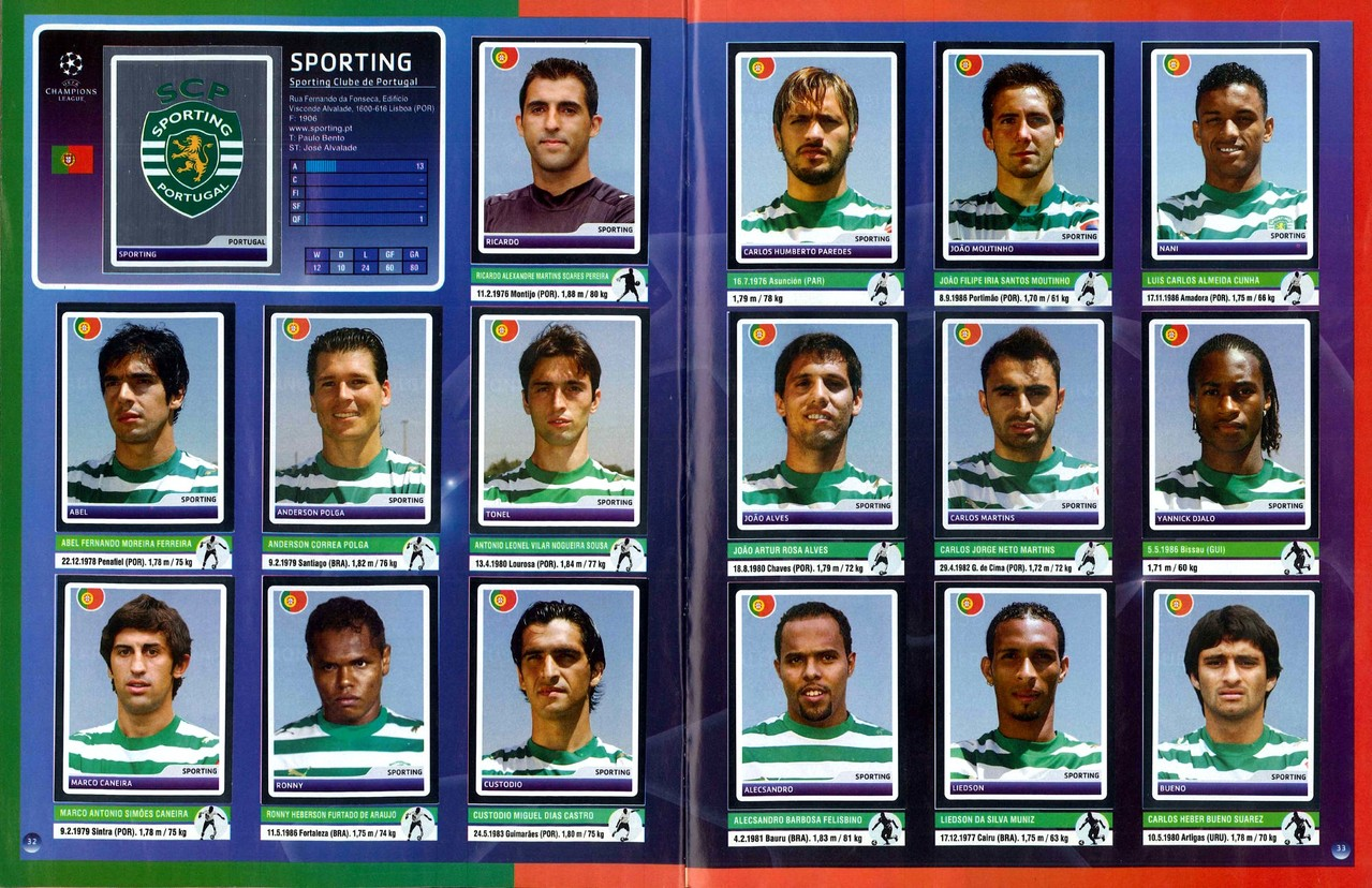 2006-07 - Panini Champions League - Pages 32 et 33 - Sporting club Portugal