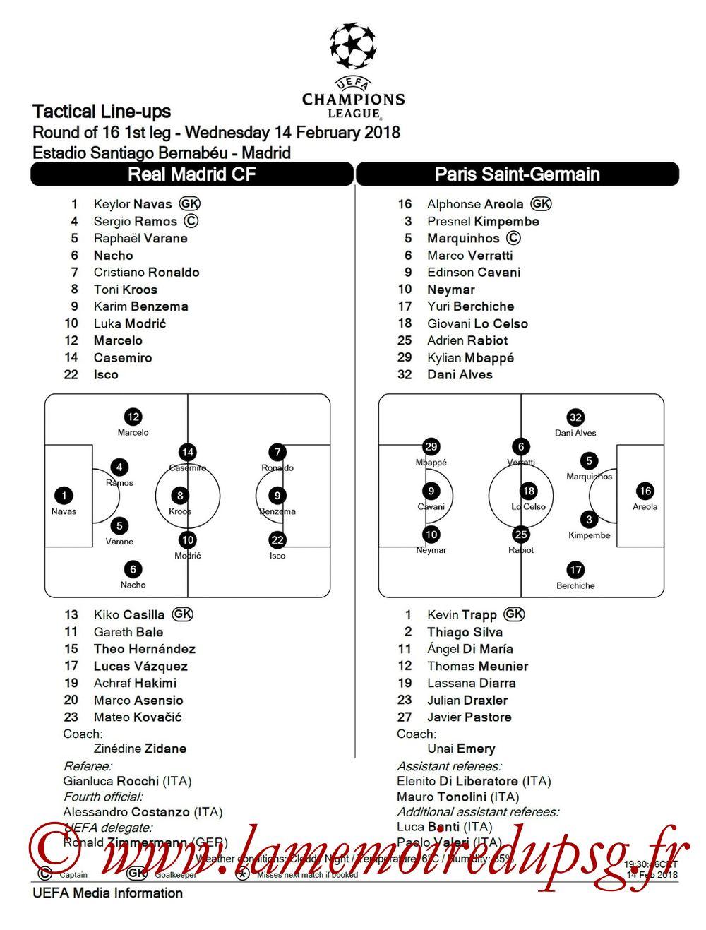2018-02-14  Real Madrid-PSG (8ème Aller C1, Feuille de match)