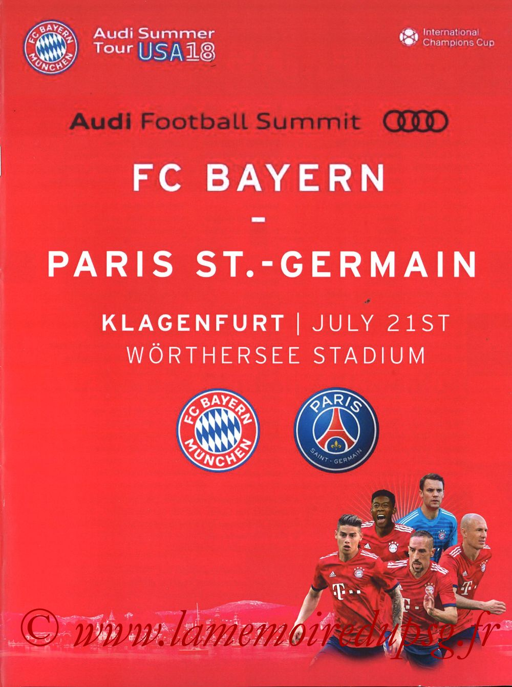 2018-07-21  Bayern Munich-PSG (International Champions Cup à Klagenfurt, Programme pirate)