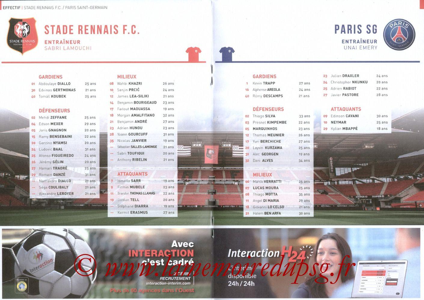 2017-12-16  Rennes-PSG (18ème L1, Le Programme de match) - Pages 08 et 09