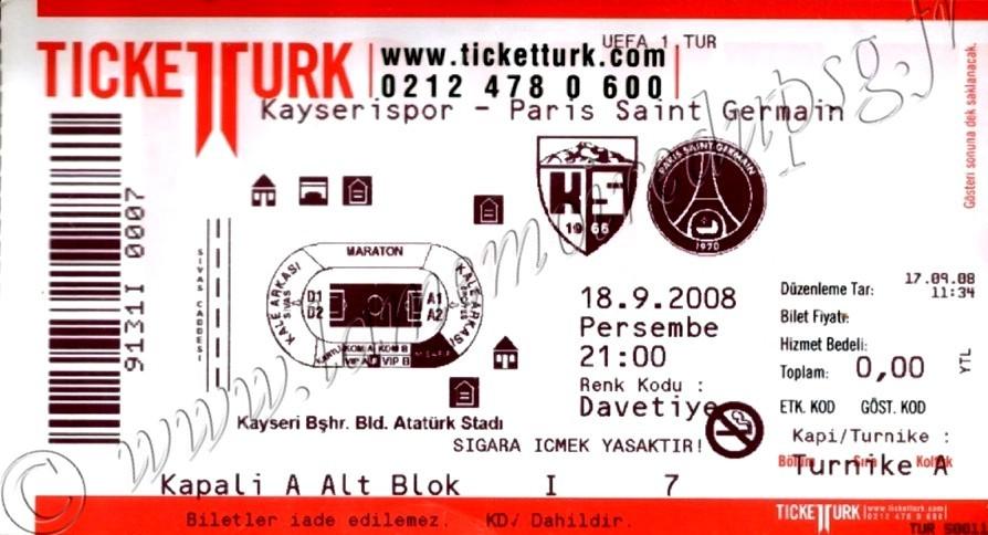 2008-09-18  Kayserispor-PSG (1er Tour Aller C3)