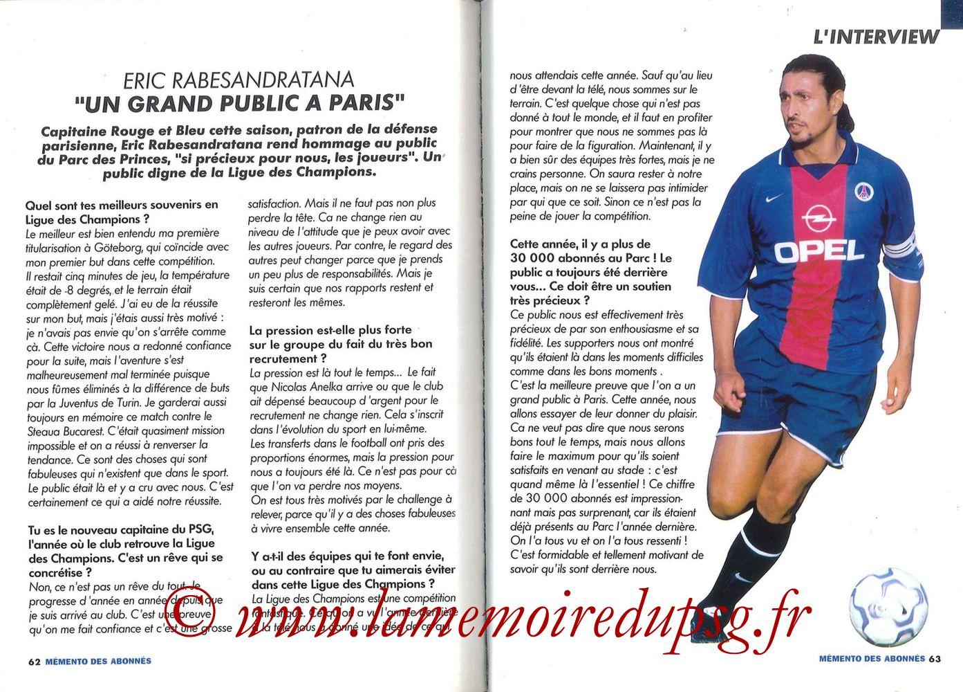 2000-01 - Guide de la Saison PSG - Pages 64 et 65