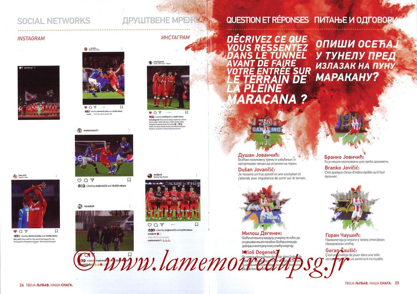2018-12-11  Etoile Rouge de Belgrade-PSG (6ème C1, Programme officiel) - Pages 24 et 25