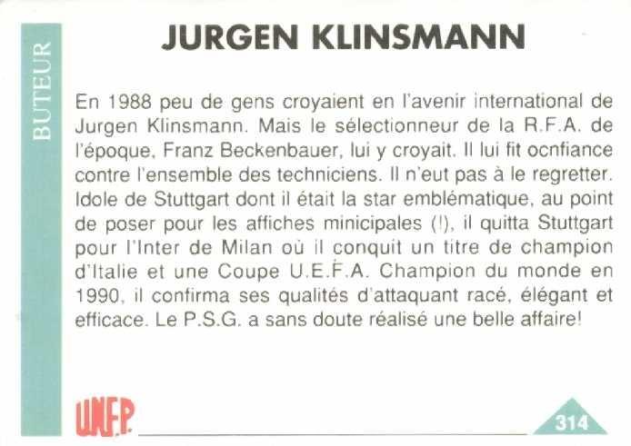 N° 314 - Jurgen KLINSMANN (Verso)