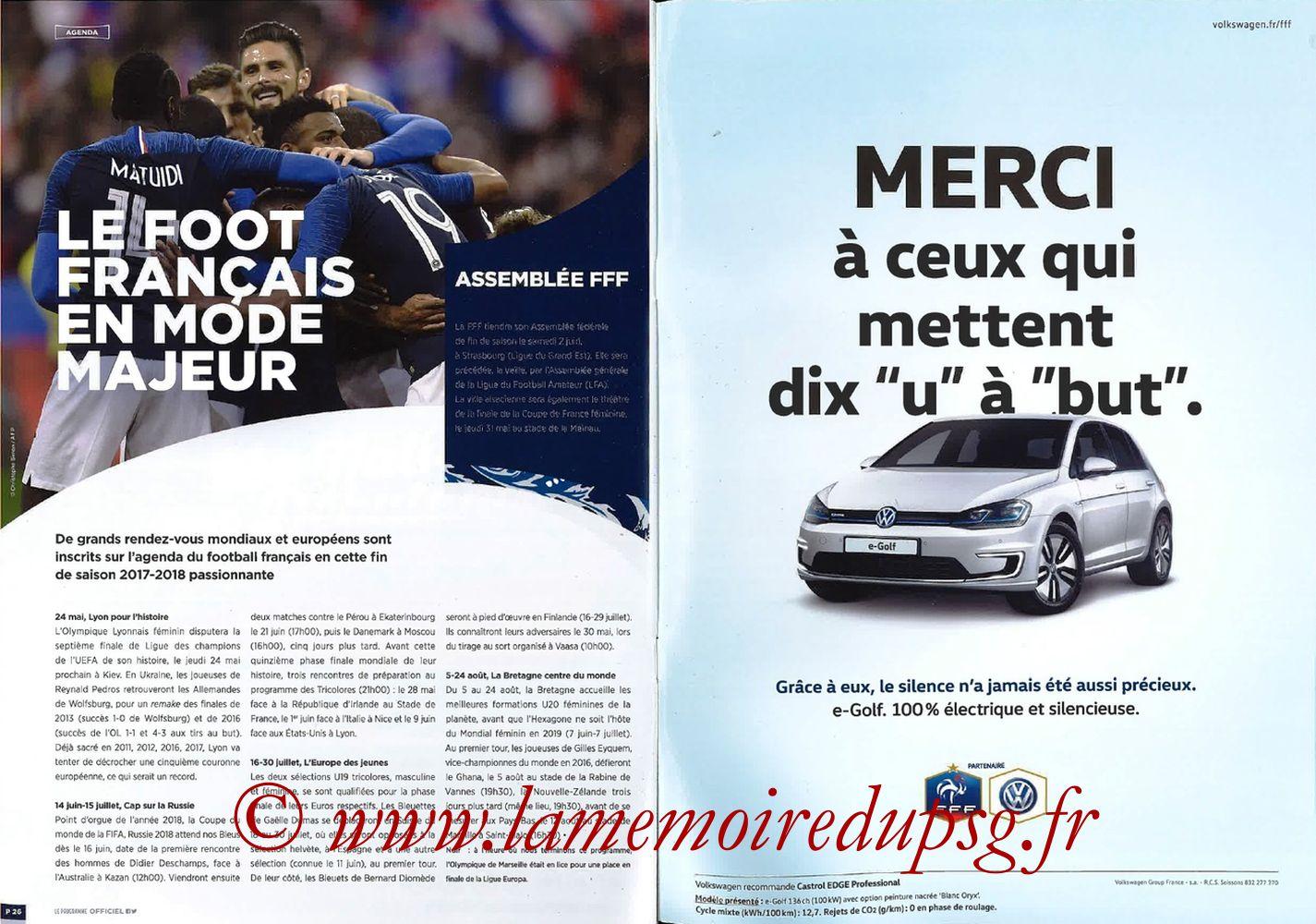 2018-05-08  Les Herbiers-PSG (Finale CF à Saint-Denis, Programme officiel FFF) - Pages 26 et 27
