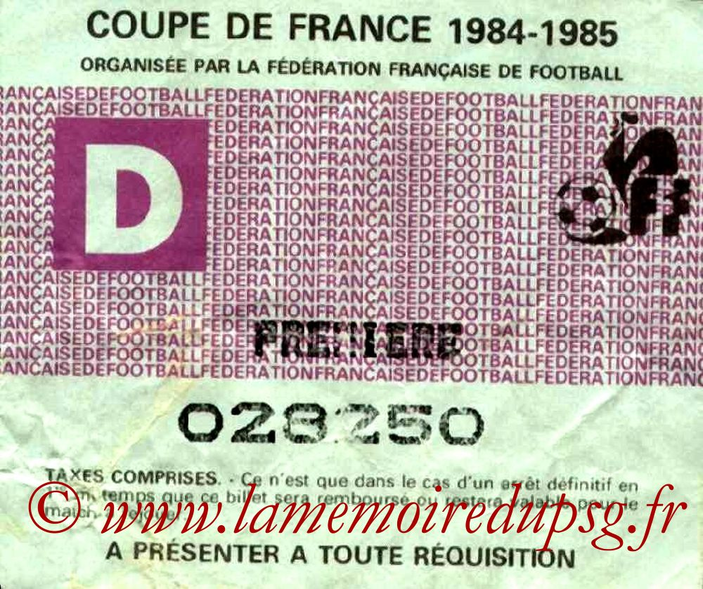 Ticket  Le Havre-PSG  1984-85