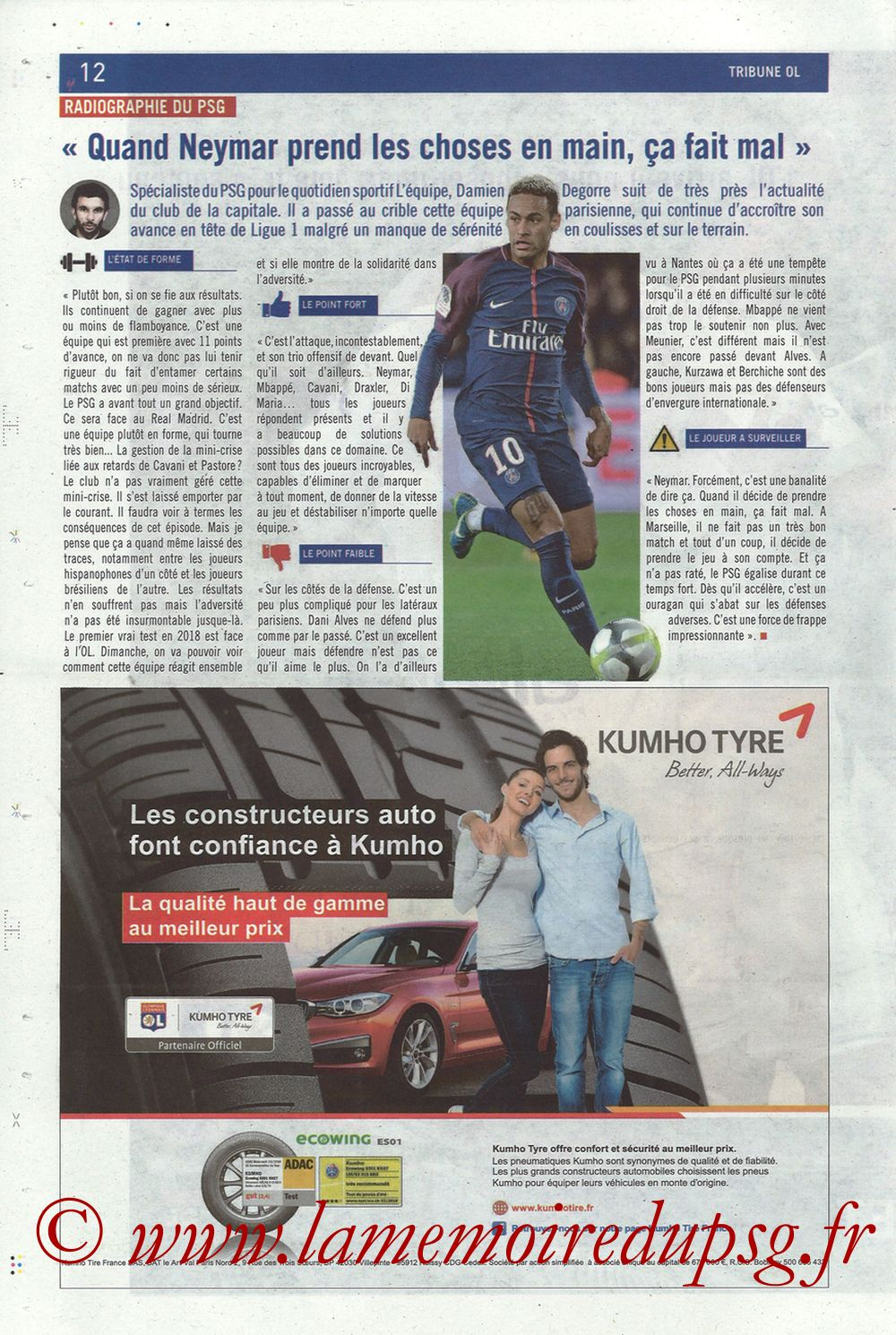 2018-01-21  Lyon-PSG (22ème L1, La Tribune OL N° 244) - Page 12