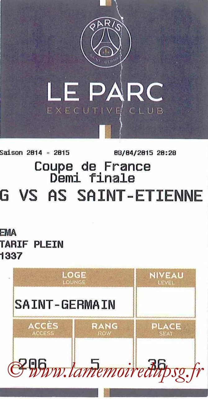2015-04-08  PSG-Saint Etienne (Demi CF, E-ticket Executive club)
