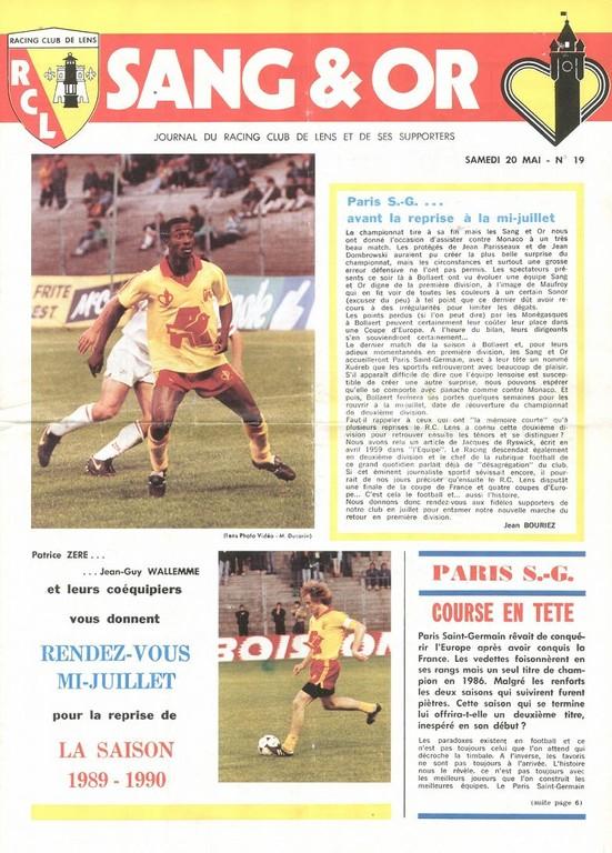 1989-05-20  Lens-PSG (37ème D1, Sang et Or N°19)