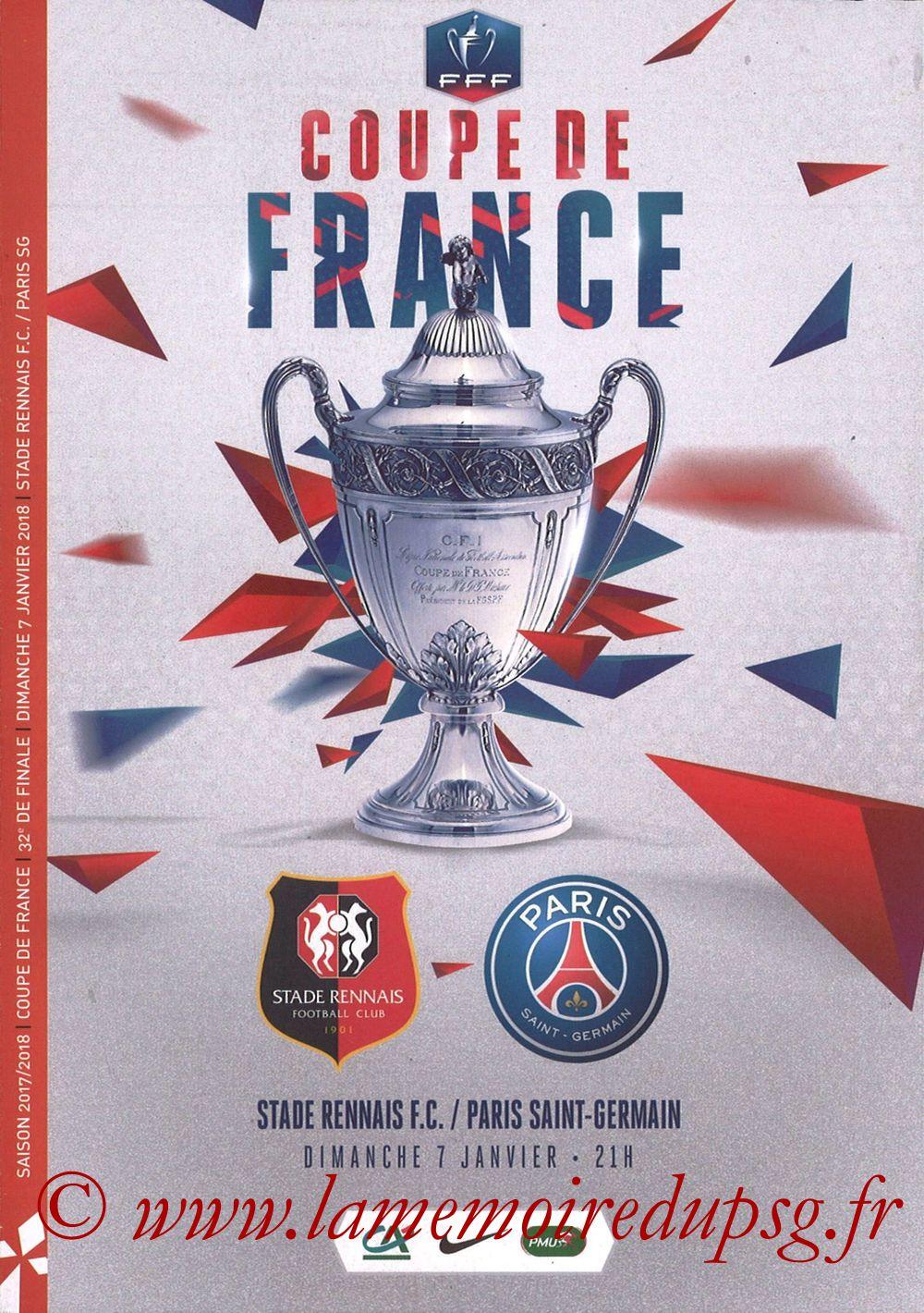 2018-01-07  Rennes-PSG (32ème CF, Programme Officiel)