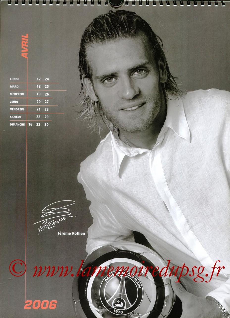 Calendrier PSG 2006 - Page 08 - Jérôme ROTHEN