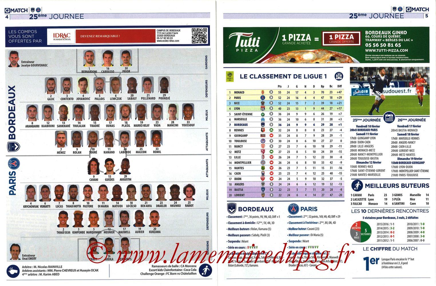2017-02-10  Bordeaux-PSG (25ème L1, Girondins Match N°35) - Pages 04 et 05