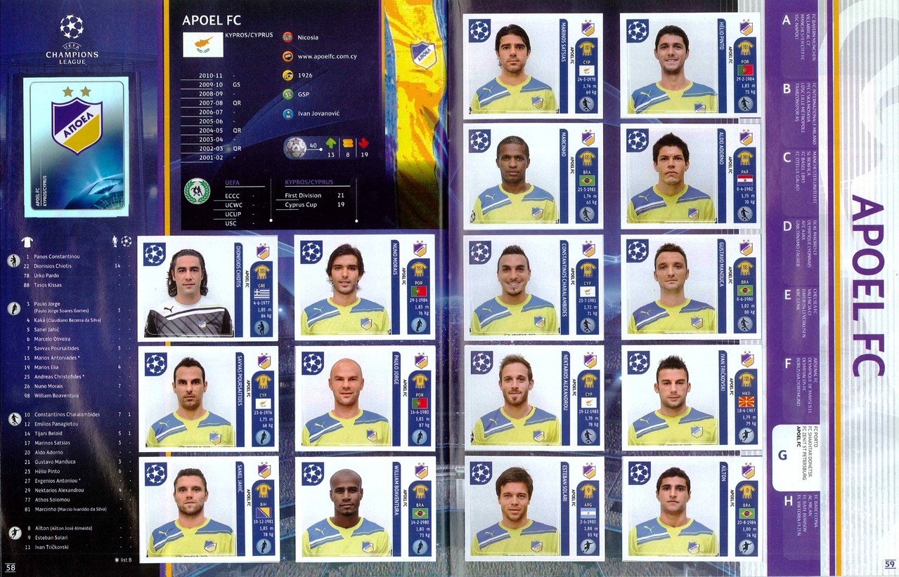 2011-12 - Panini Champions League - Pages 58 et 59 - Apoel Nicosie FC