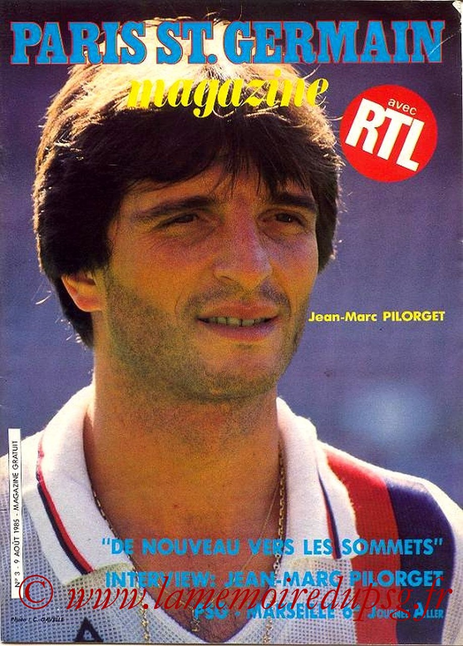 1985-08-09  PSG-Marseille (6ème D1, Paris St Germain Magazine N°3)