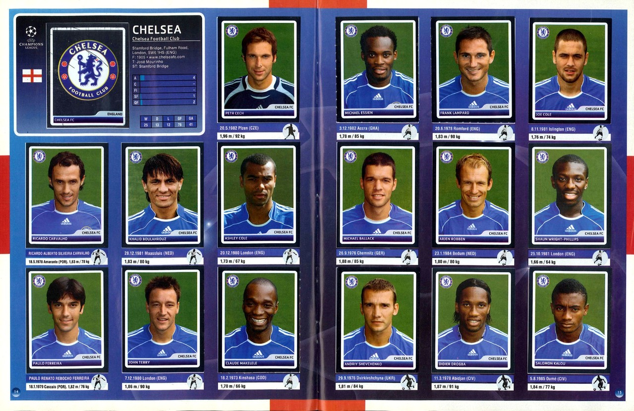 2006-07 - Panini Champions League - Pages 14 et 15 - Chelsea FC