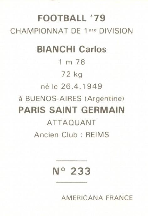 N° 233 - Carlos BIANCHI (Verso)