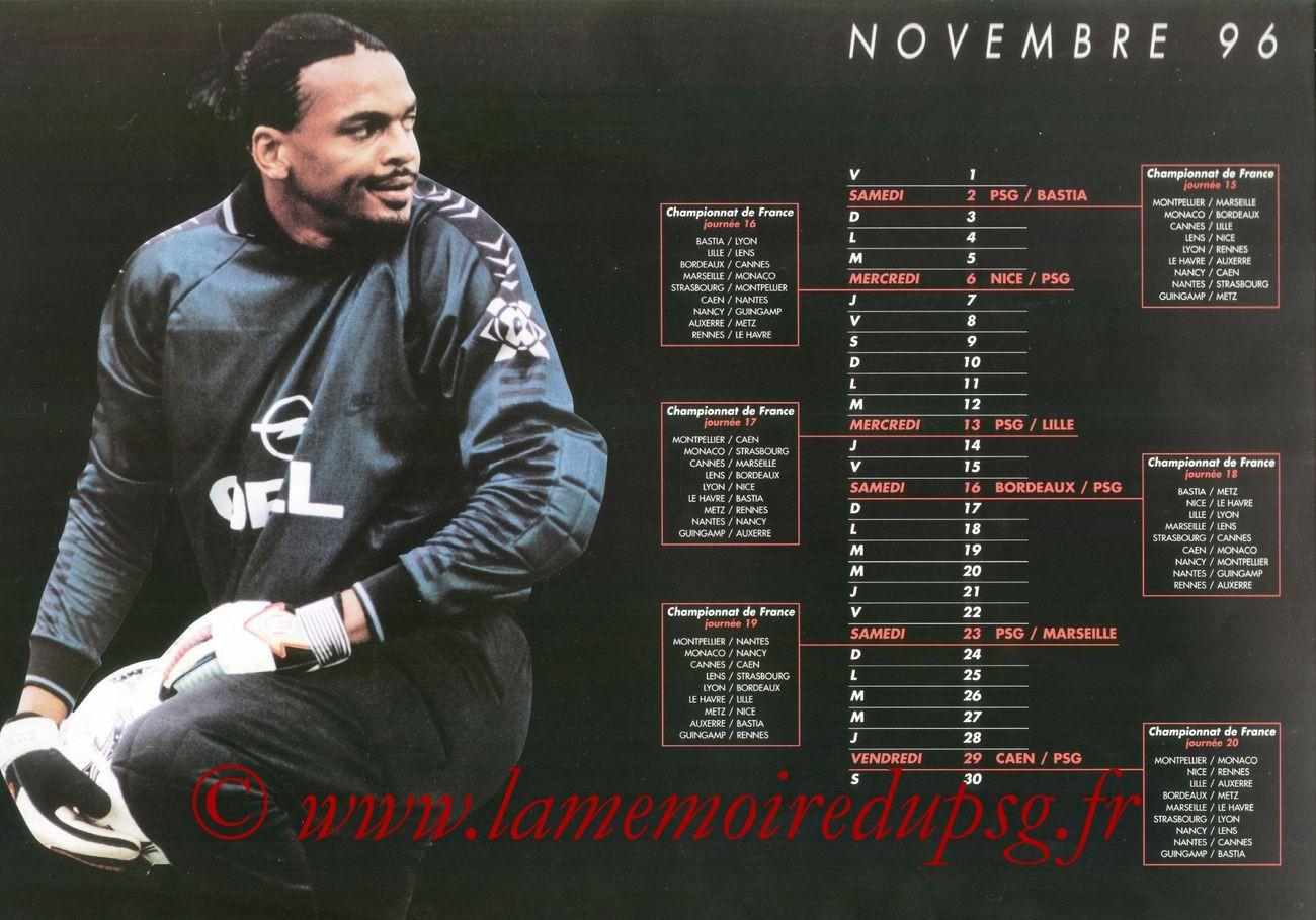 Calendrier PSG 1996-97 - Page 04 - Bernard LAMA