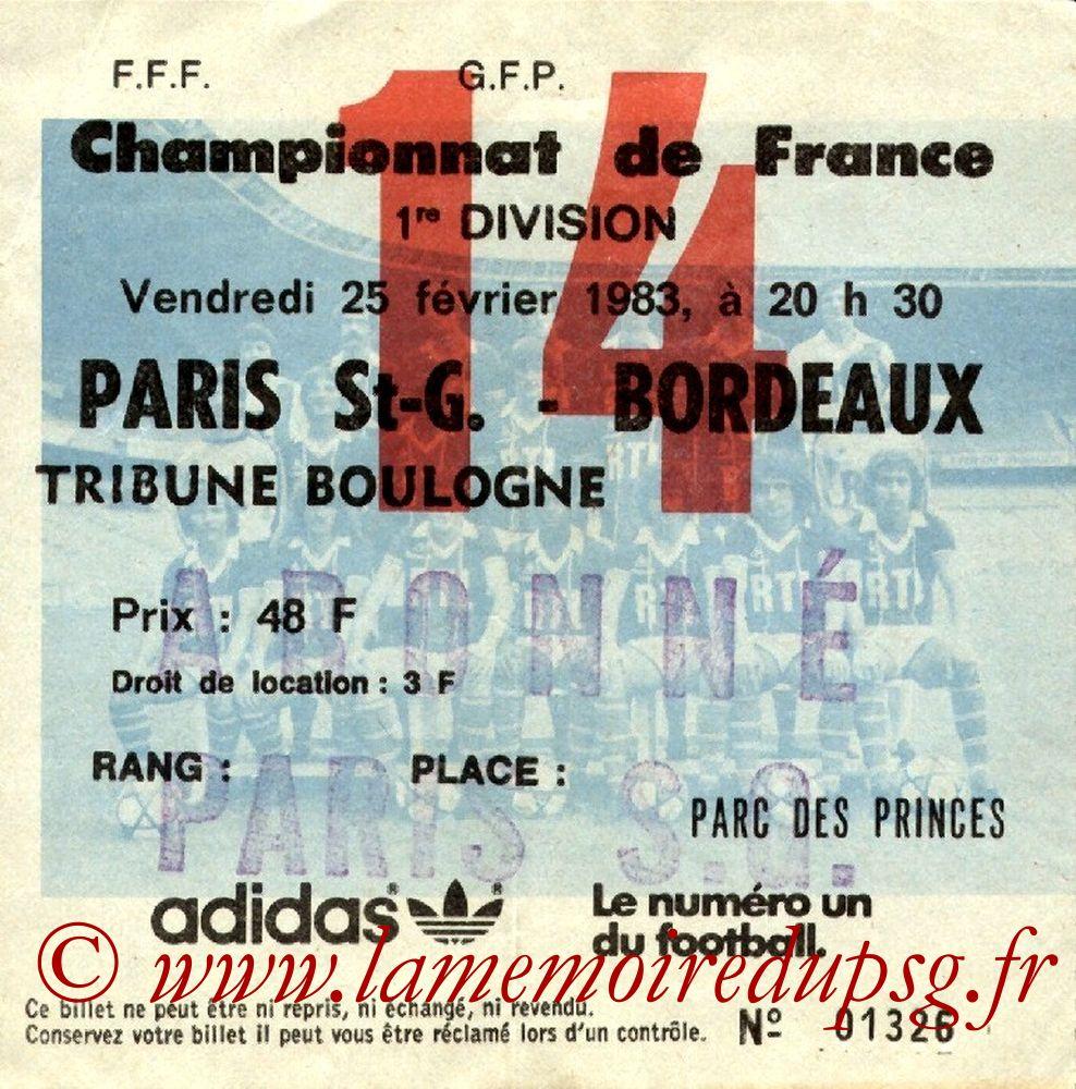 1983-02-25  PSG-Bordeaux (26ème D1, Ticket N°14)