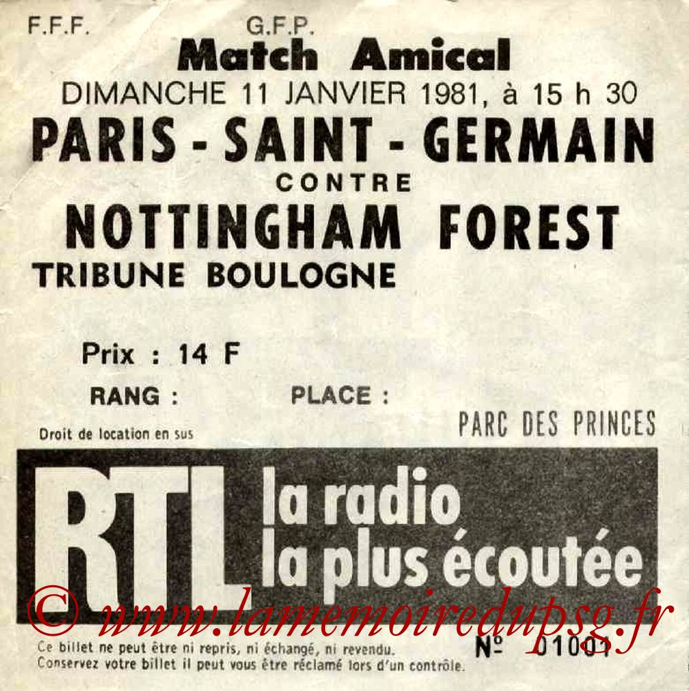 1981-01-11  PSG-Nottingham Forest (Amical au Parc des Princes)