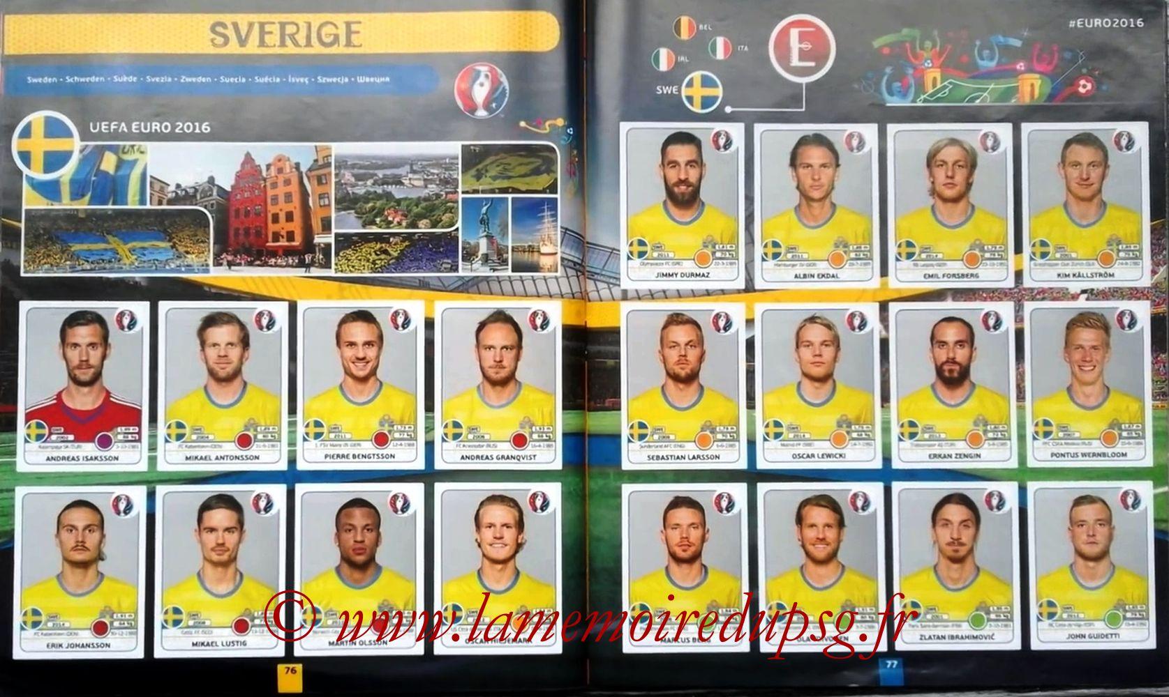 Panini Euro 2016 Stickers - Pages 76 et 77 - Suède