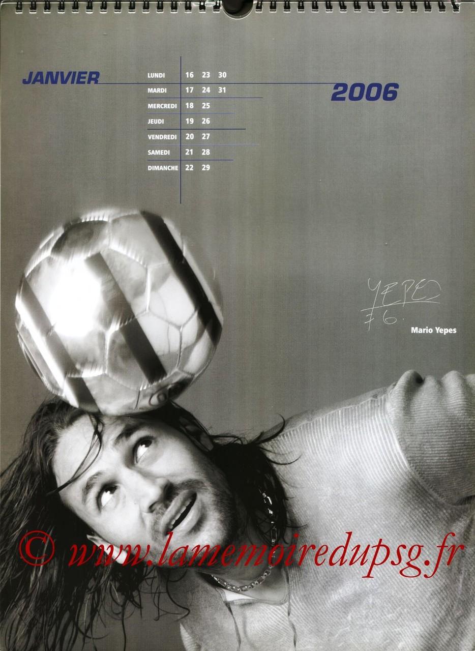 Calendrier PSG 2006 - Page 02 - Mario YEPES