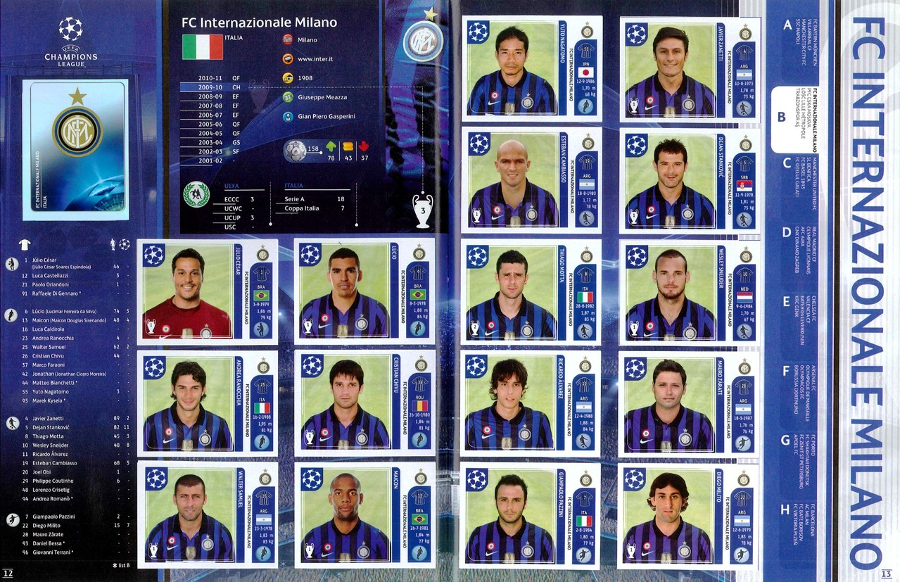 2011-12 - Panini Champions League - Pages 12 et 13 - FC Inter Milan