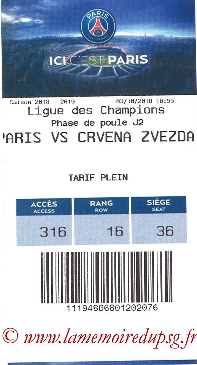 2018-10-03  PSG-Etoile Rouge de Belgrade (2ème C1, E-ticket)