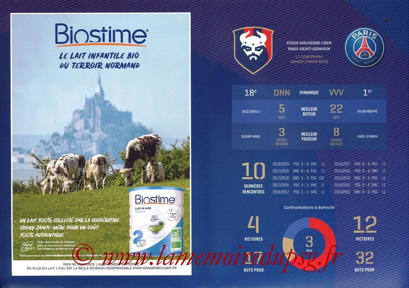 2019-03-02  Caen-PSG (27ème L1, Programme officiel) - Pages 04 et 05