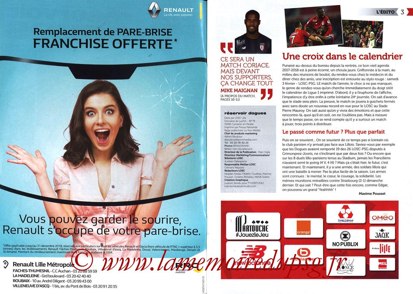 2018-02-03  Lille-PSG (24ème L1, Réservoir Dogues N°82) - Pages 02 et 03