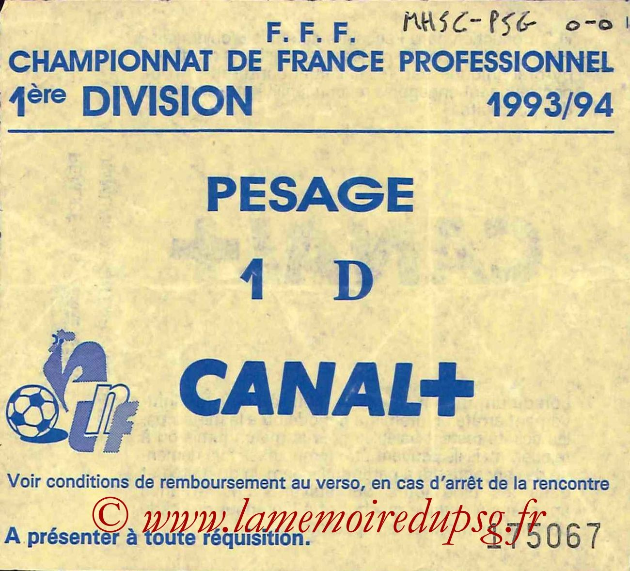 1994-02-09  Montpellier-PSG (26ème D1, Sans nom)