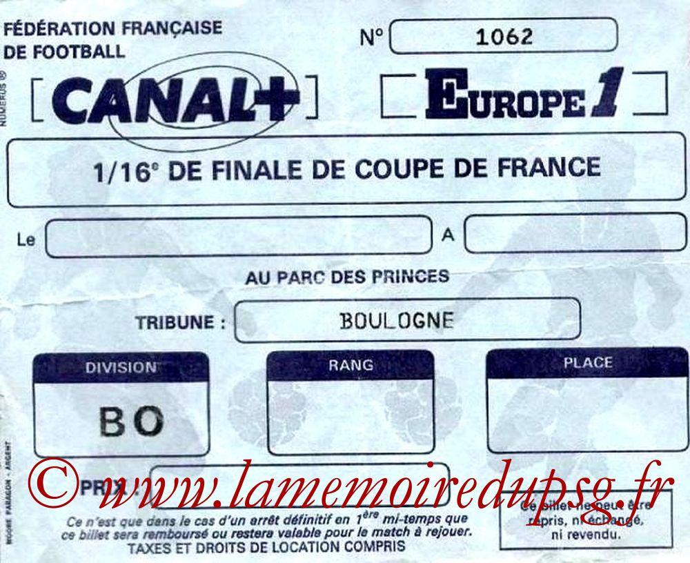 Ticket  PSG-Strasbourg  1986-87