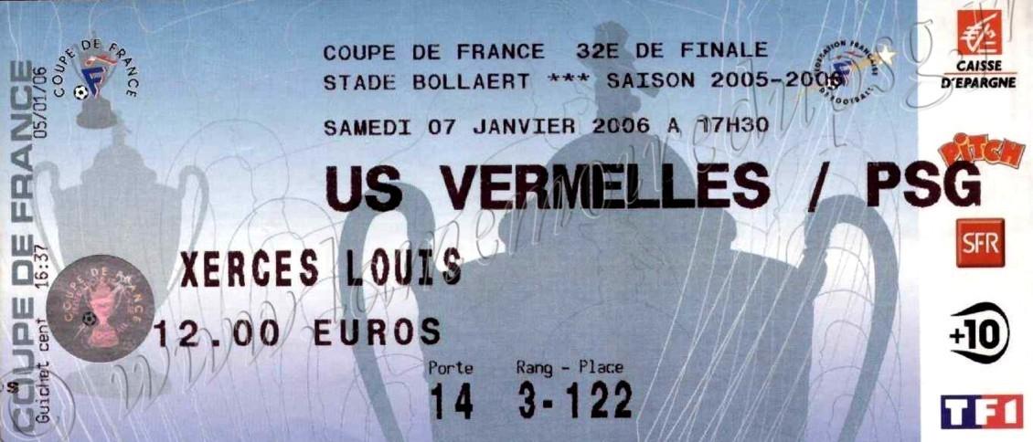 2006-01-07  Vermelles-PSG (32ème finale CF à Lens)
