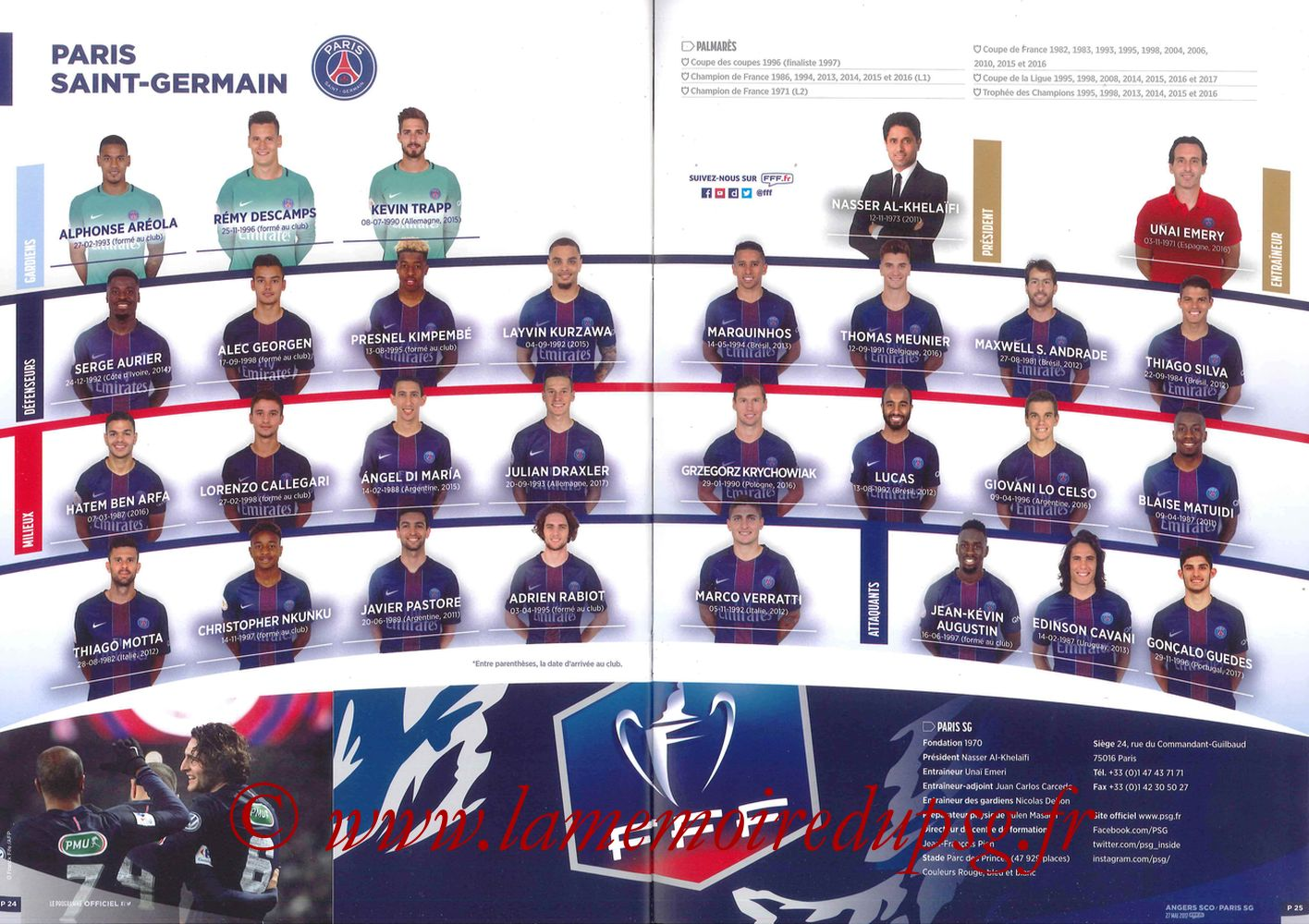 2017-05-27  Angers-PSG (Finale CF à Saint-Denis, Programme officiel) - Pages 24 et 25