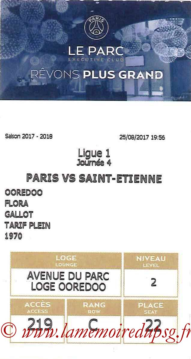2017-08-25  PSG-Saint Etienne (4ème L1, E-ticket Executive club bis)
