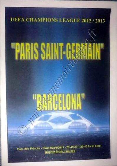 2013-04-02  PSG-FC Barcelone (Quart Finale Aller C1, Programme pirate édition Ukraine)