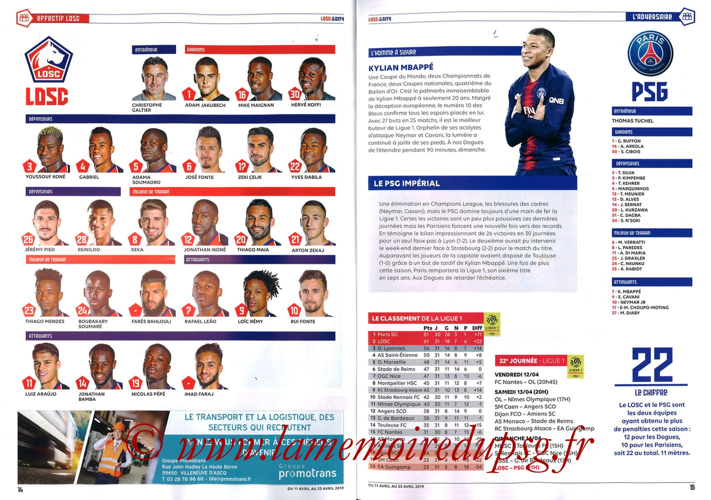 2019-04-14  Lille-PSG (32ème L1, LOSC In the City N° 28) - Pages 14 et 15