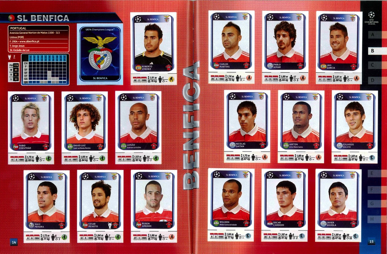 2010-11 - Panini Champions League - Pages 14 et 15 - SL Benfica