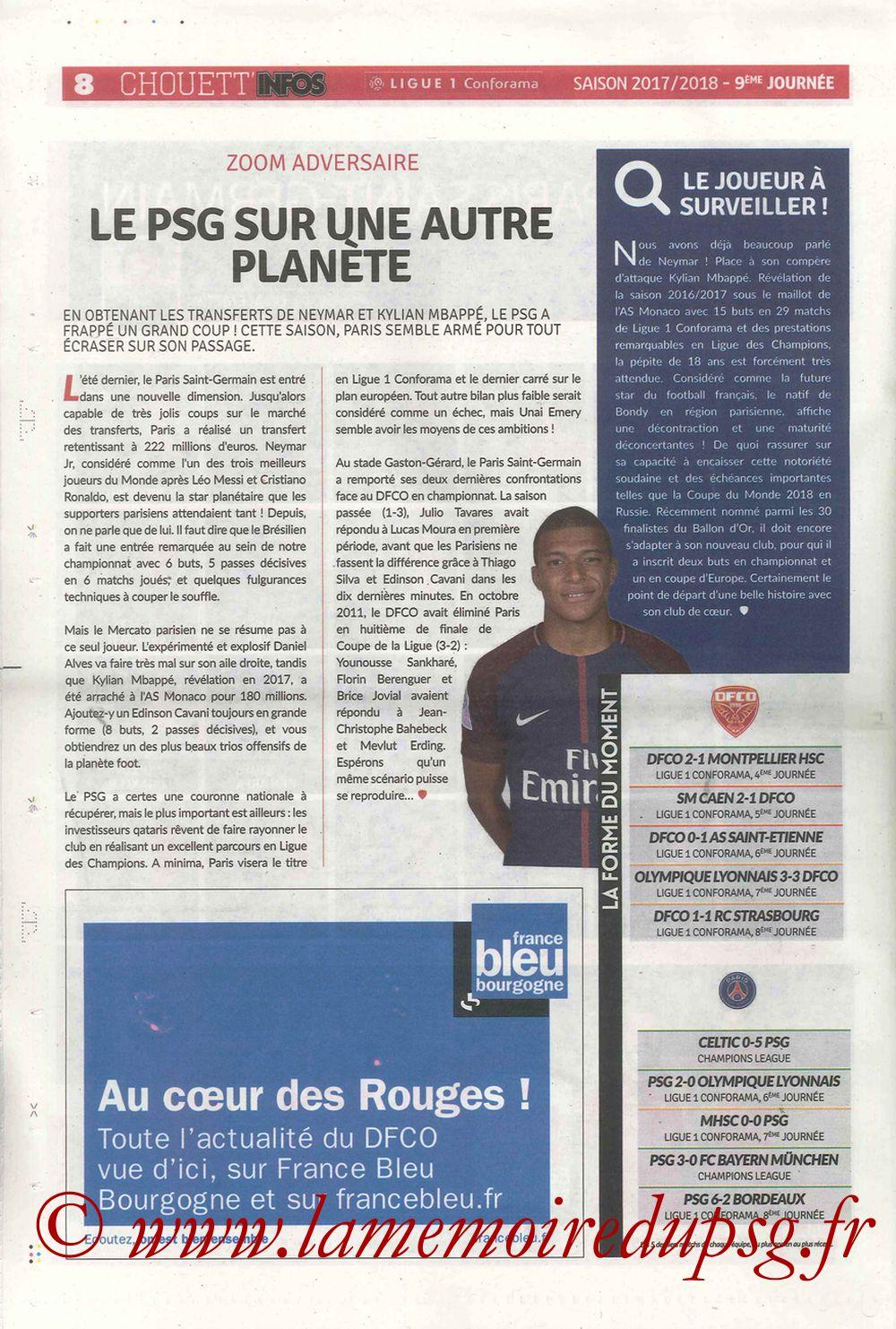 2017-10-14  Dijon-PSG (9ème L1, Chouett'Infos N°5) - Page 08