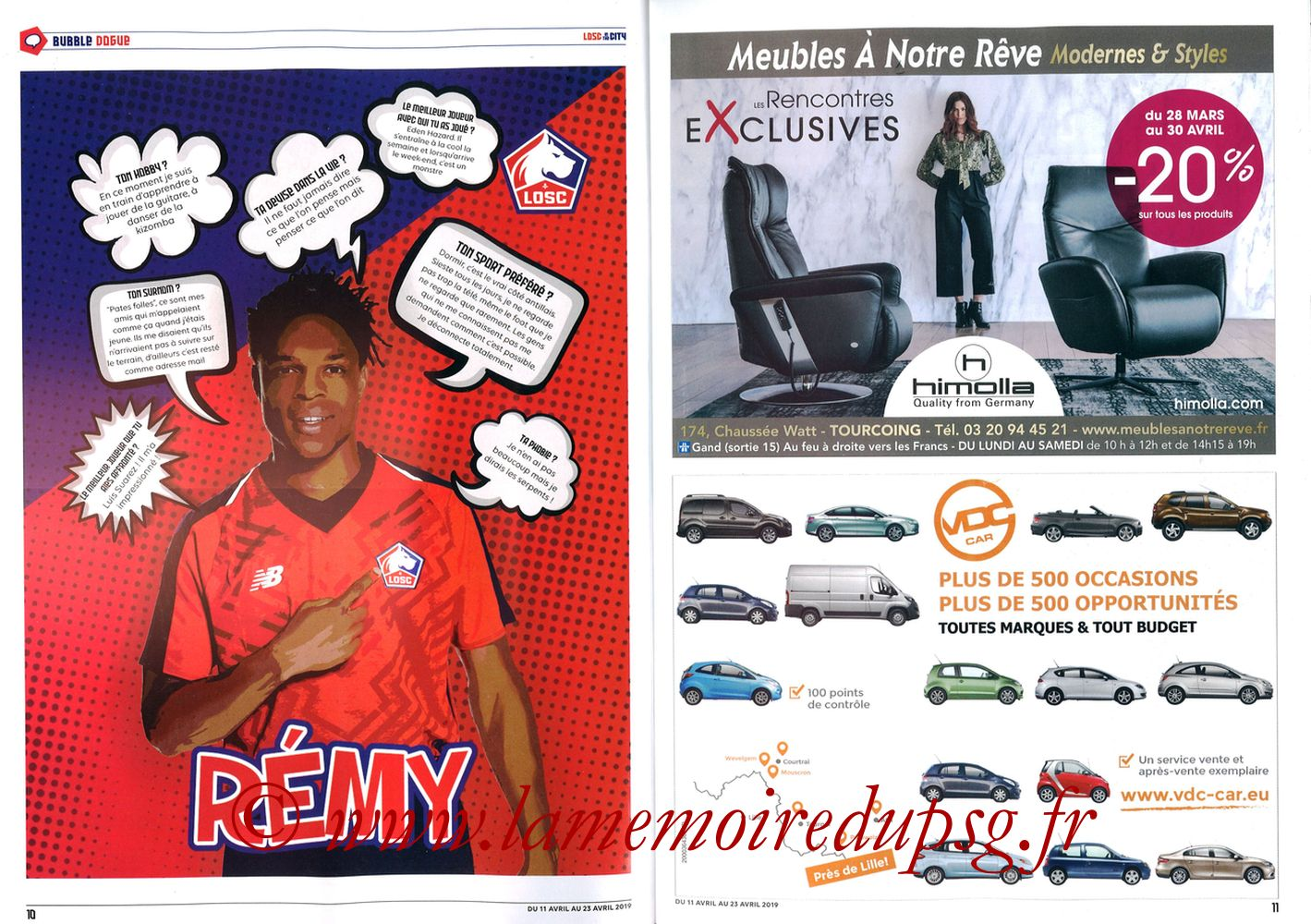 2019-04-14  Lille-PSG (32ème L1, LOSC In the City N° 28) - Pages 10 et 11