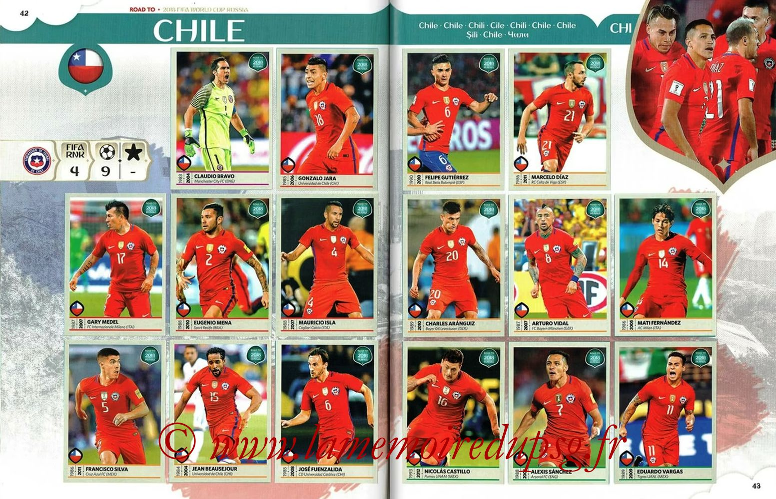 2018 - Panini Road to FIFA World Cup Russia Stickers - Pages 42 et 43 - Chili