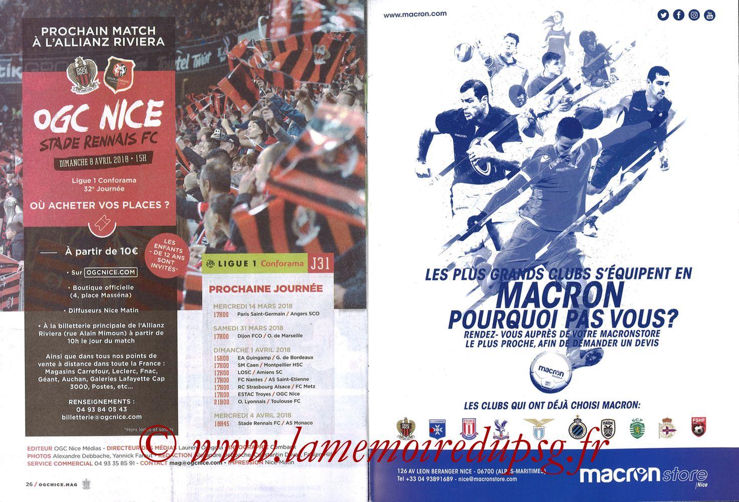 2018-03-18  Nice-PSG (30ème L1, OGC Nice Mag N°306) - Pages 26 et 27