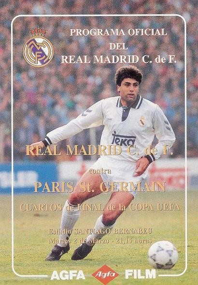1993-03-02  Real Madrid-PSG (Quart Finale Aller C3, Programme officiel)