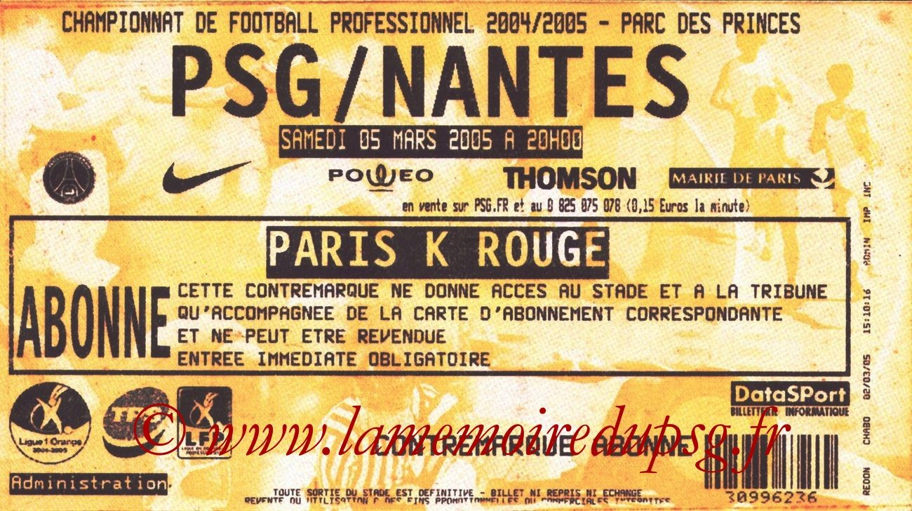 2005-03-05  PSG-Nantes (28ème L1, bis)