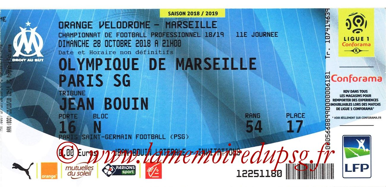 2018-10-28  Marseille-PSG (11ème L1)