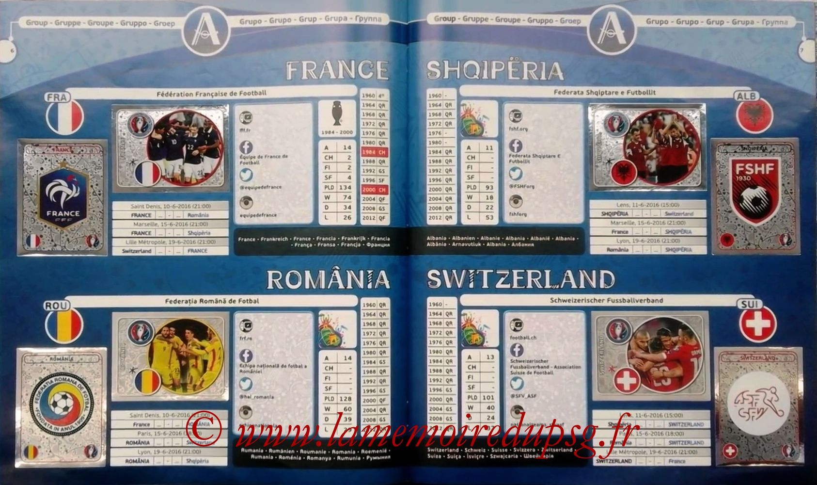 Panini Euro 2016 Stickers - Pages 06 et 07 - Groupe A