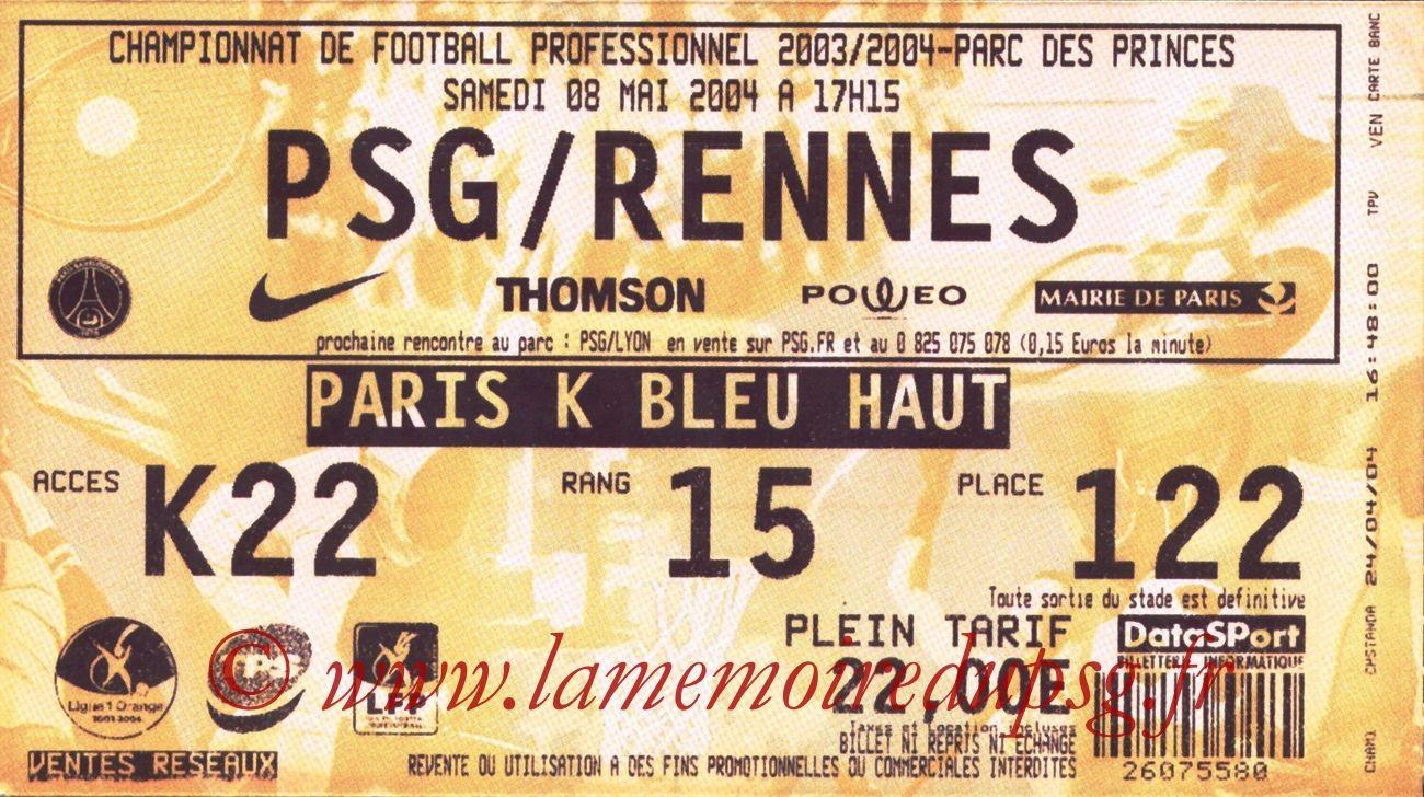 2004-05-08  PSG-Rennes (35ème L1, bis)