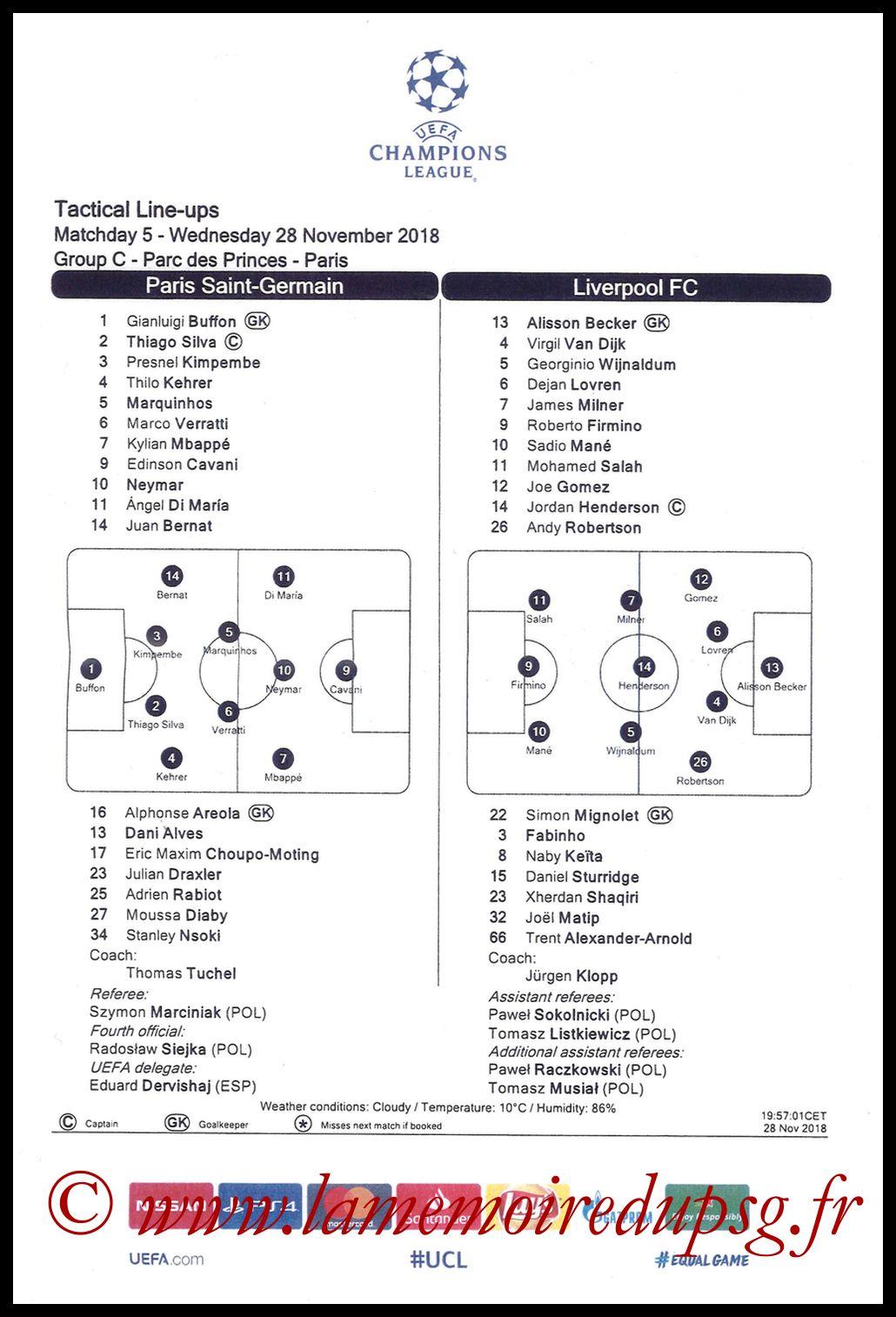 2018-11-28  PSG-Liverpool (5ème C1, Feuille de match)