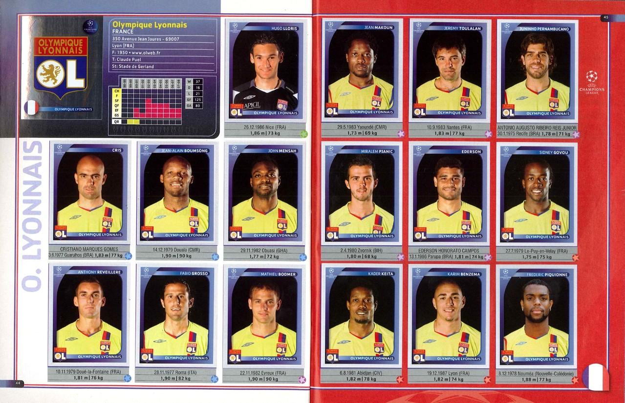 2008-09 - Panini Champions League - Pages 44 et 45 - Olympique Lyonnais